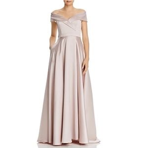 AVERY G Off-The-Shoulder Satin Gown BAIGE size 8